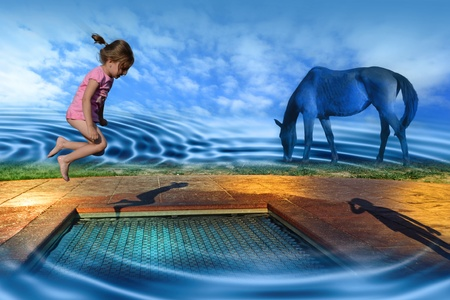 visionary: A visionary, surreal depiction of the world of dreams, where human consciousness is free, like a child on a playground. Stock Photo
