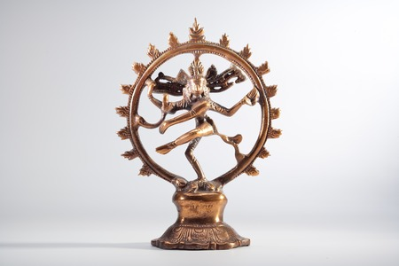 Ancient indian bronze Shiva Nataraja Dansculpture white background Stock Photo