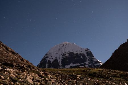 Mount Kailash at night Himalayas range Tibet Kailas yatra