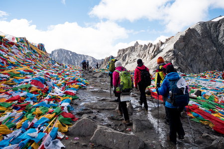 People Pass Mount Kailash Himalayas range Tibet Kailas yatra