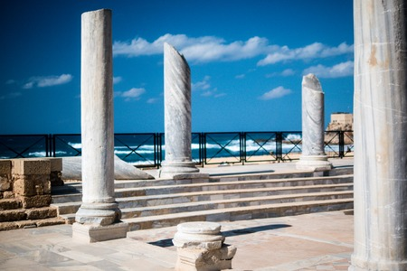 The architecture of the Roman period in the national park Caesarea on the Mediterranean coast of Israel Stock Photo