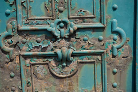 moss: Old door rust metall on the streets of Budapest Hungary Stock Photo