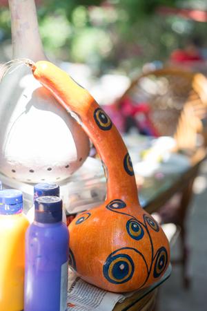 Pumpkin Oriental turkish lamps ANTALYA, TURKEY - JUNE 25, 2017