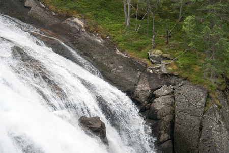 Very beautiful powerful waterfall in Norway with the effect of flowing water Stock Photo