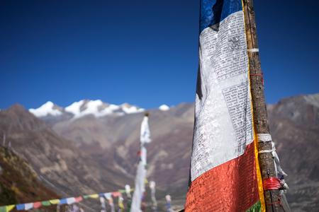 Prayer flags in the Himalaya mountains, Annapurna region, Nepal