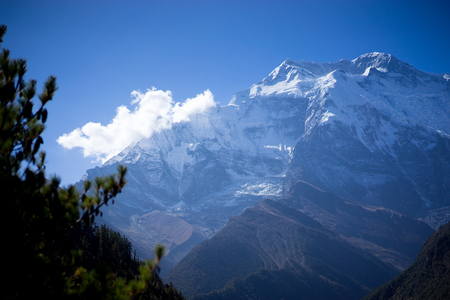 Annapurna Peak and pass in the Himalaya mountains, Annapurna region, Nepal