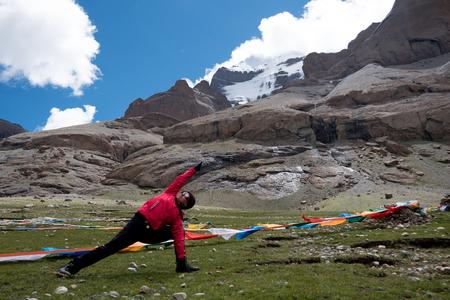 Yoga near Mount Kailash Himalayas range Tibet Kailas yatra