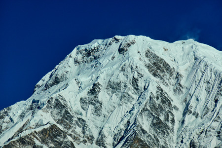 Annapurna South Peak and pass in the Himalaya mountains, Annapurna region, Nepal