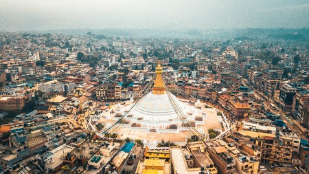 Stupa Bodhnath Kathmandu, Nepal - October 12, 2018 Stock Photo