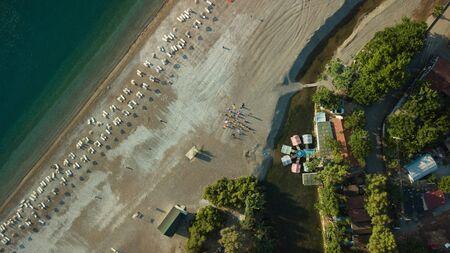Sunrise silhouette on the beach Turkey aerial Stok Fotoğraf