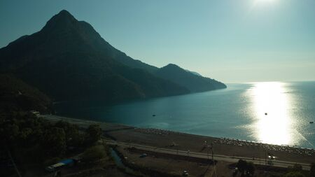 Summer time in Adrasan Turkey Sunrise silhouette above sea and sky from air 4K Stok Fotoğraf
