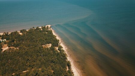 Aerial view of cape Kolka, Baltic sea, Latvia Stock fotó - 129688267