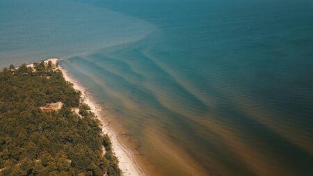 Aerial view of cape Kolka, Baltic sea, Latvia Stock fotó - 129688269