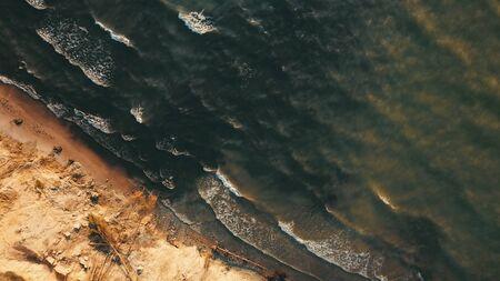 Sunset near coastline Baltic sea Jurkalne Aerial view Latvia Stock fotó - 129688180