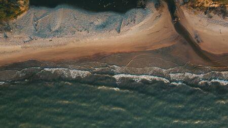 Sunset near coastline Baltic sea Jurkalne Aerial view Latvia Stock fotó - 129688183