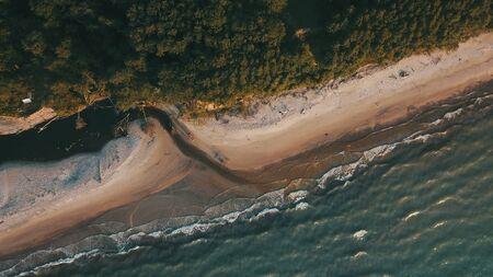 Sunset near coastline Baltic sea Jurkalne Aerial view Latvia Stock fotó - 129688198