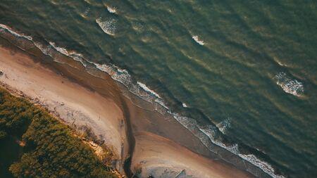 Sunset near coastline Baltic sea Jurkalne Aerial view Latvia Stock fotó - 129687944