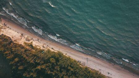 Sunset near coastline Baltic sea Jurkalne Aerial view Latvia Stock fotó - 129687957