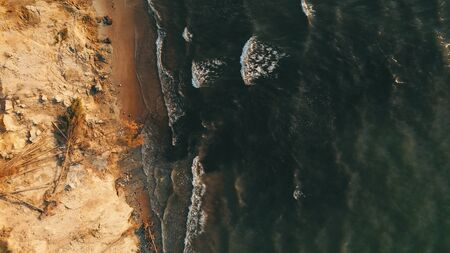 Sunset near coastline Baltic sea Jurkalne Aerial view Latvia Stock fotó - 129687849