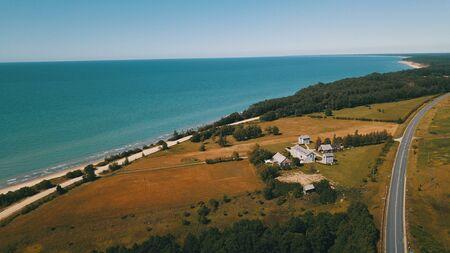 Aerial view of coastline Jurkalne Baltic sea Latvia Stock fotó - 129687607