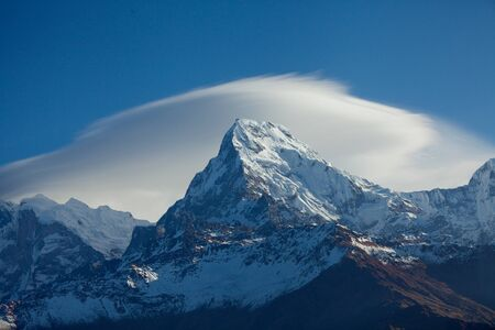 Annapurna Peak in the Himalaya range, Annapurna region, Nepal