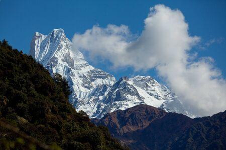 Mt Fishtail Machapuchare in the Himalaya range, Annapurna region, Nepal