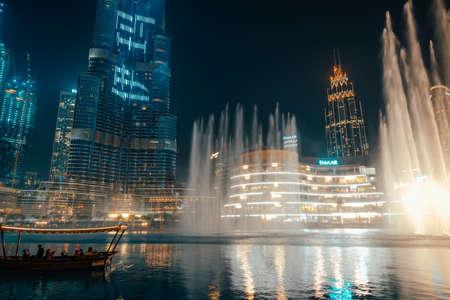 February 29, 2020 - Dubai, UAE - show fountain next to Burj Khalifa Éditoriale