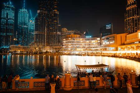 February 29, 2020 - Dubai, UAE - show fountain next to Burj Khalifa