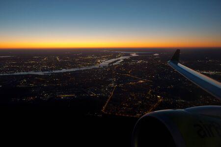 Riga, capital of Latvia. Aerial view sunrise time