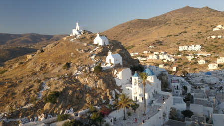 Ancient castle in the harbor of Chora town view from top Ios Greece