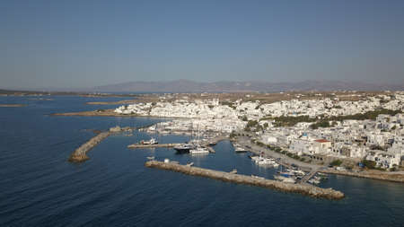 Aerial view of the pier with Paros island on a Naousa village
