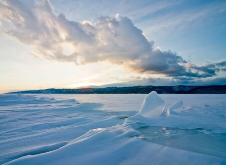 Lake Baikal, winter, type from the frozen lake on coast Stock Photo - 8340010