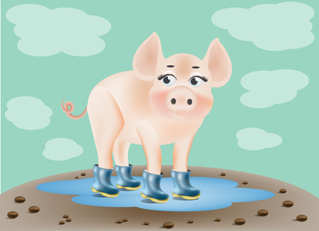 puddle: pig in rubber boots in a puddle