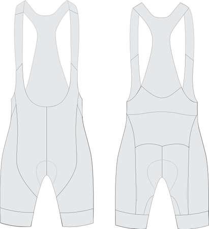 Custom Cycling Bib Shorts template vector illustration