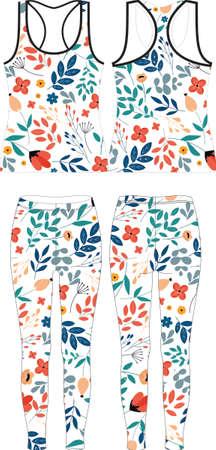 women Floral Pattern leggings custom design vector