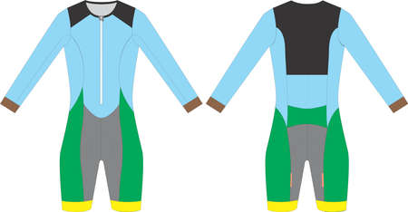 Long Sleeve Skin suit for cycling vectors illustrations Иллюстрация