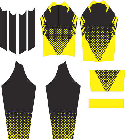 Long Sleeve Cycling Jersey Design Adjust in Pattern Vectors