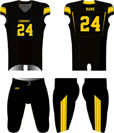 American Football jersey uniforms mock ups design templates front and back view illustrations vectors Ilustração Vetorial