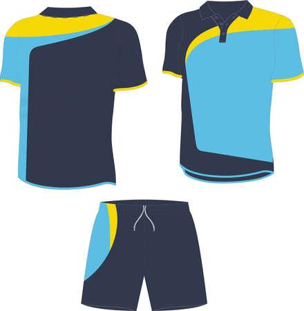 Men Polo T Shirts and Shorts illustrations vectors
