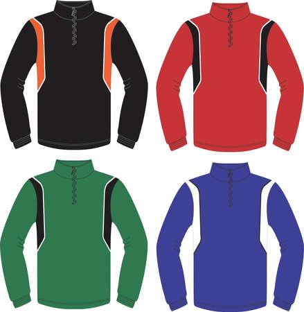 Running Wear zip top long sleeve illustrations vectors