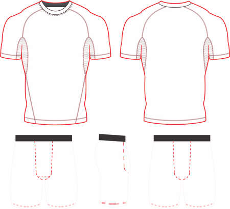 Sublimated Short Sleeve Compression Top and Shorts Templates vectors