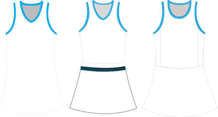 Netball Skirt and Top Outfit Body suit Mock ups illustrations Banco de Imagens