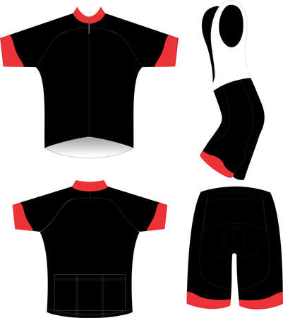 Cycling Jersey Bib and Shorts Mock ups templates illustrations Banco de Imagens