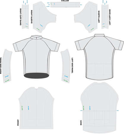 Peloton Short Sleeve Jersey Mock ups and Artwork Patterns vectors