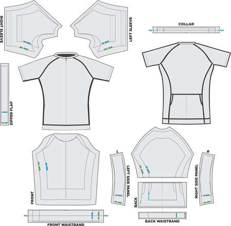 Performance Short Sleeve Tri Top Mock ups and Artwork Patterns vectors