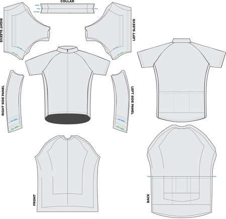 Classic Jersey Cycling Mock ups and Artwork templates vectors Ilustração