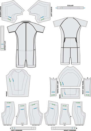 Performance Short Sleeve Tri Suit Mock ups and Pattern Artworks illustrations Banco de Imagens