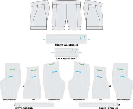 Performance Tri Shorts Mock ups and Artworks Patterns vectors