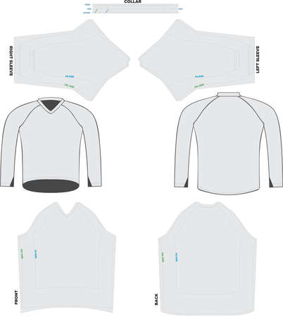 Trail Jersey-Long Sleeve Mock ups and Artworks Patterns vectors