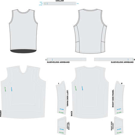Sleeveless Endurance Tee Mock ups and Artwork Patterns vectors Ilustração